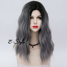 Women Fashion Ombre Black Mixed Gray 55CM Long Curly Lolita Cosplay Party Wig