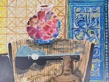 Lithografie - Wendy Chazin - Composition with Guitar and Vase