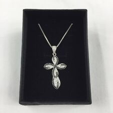 Sterling Silver 925 Clear & Black CZ Cross Pendant 4cm(L) 5.8g +49cm Chain Boxed