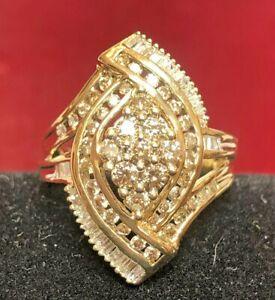 VINTAGE  10K GOLD WHITE & CHOCOLATE DIAMOND RING WEDDING ENGAGEMENT ART DECO