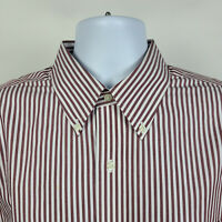 Brooks Brothers Regent Non Iron Brick Red Striped Mens Dress Shirt Size 16.5 4/5