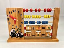 Vintage Panda Wooden Abacus Learning Clock Addition Subtraction Toy Educational