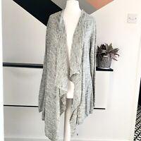 MINT VELVET Grey Waterfall cardigan Size 10    Smart Casual Warm Linen Blend