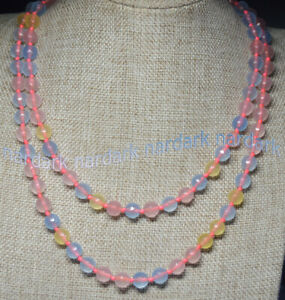 Charm 8mm Natural Rainbow Morganite Faceted Gemstone Round Beads Necklace 28-72""