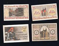 4x Notgeld der Stadt HILDBURGHAUSEN Thüringen je 2x 25 + 50 Pf