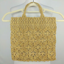 HANDMADE Womens Jute Woven Knotted Geometric Lined Hand Bag Tote Size Medium Tan