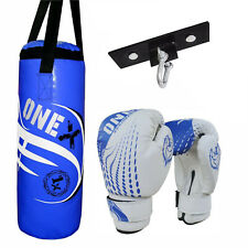 2Ft Filled Boxing Bag Set Punching Heavy MMA Mitts Gym Kick Training Fitness