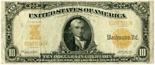 1907 $10 Gold Certificate Large Size Note Us Currency Paper Money - Jj342