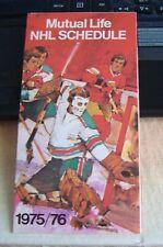 75-76 Mutual Life NHL Schedule