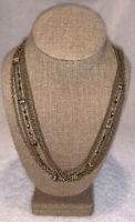 Vintage Brass Chain Link Multi Strand Necklace With Clip-on Earrings 1950s