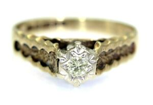 Vintage 0.12ct Diamond Solitaire 9ct Yellow Gold ring size K ~ 5 1/4