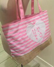 Victoria Secret VS Signature Pink White Stripe Ultimate Beach Tote Straw Bottom