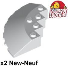Lego 2x brique ronde brick round 6x6 slope pente 33 edge blanc/white 95188 NEUF