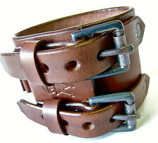 Leather Cuff Bracelets Johnny Depp Brown Custom watch wristband Made in NYC USA!