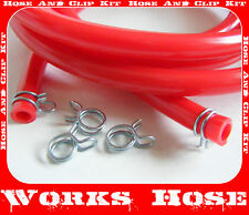 CR 125, 250, 5MM ID FUEL CARB PIPE HOSE RED & CLIPS 2m