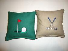 8 Cornhole Bag Bean Set Embroidered Golf Club Green Tee