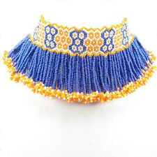 NATIVE INSPIRED ETHNIC HANDCRAFTED STATEMENT ORANGE BLUE BEADED CHOKER NECKLACE