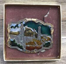 Koleaco Original Vintage Brass Belt Buckle Crude Oil Field Enameled Western USA