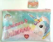BNWT Unicorn Rainbow Heart Pencil Case Make-up Bag Toiletry Travel Gift Novelty