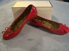 COACH SHOES RED PUNCH PATENT LEATHER FLATS BOWS IN BOX SIZE 8