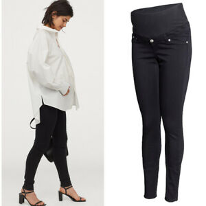 H&M Mama Black Twill Maternity Trousers, Pull On Over Bump Stretch Jeggings