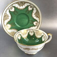 Antique Crown Staffordshire Bold Green Floral Bone China Tea Cup England Teacup
