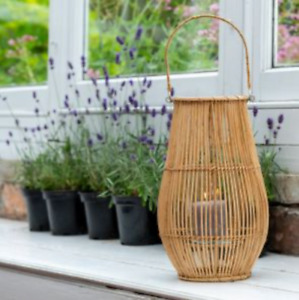 Tall Bamboo & Glass Lantern with Handle, Pillar Candle Holder, Rustic Basket