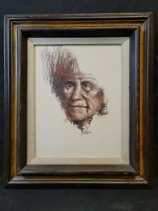 Original Signed Pastel on Board Drawing Jess E DuBois Native American Portrait