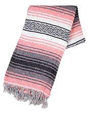 #11 Genuine Mexican Falsa Blanket Yoga Woven Throw Serape Mexico Light Pink Mat