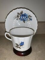 Vintage Blue Roses Floral Bone China Teacup & Saucer, Made In England