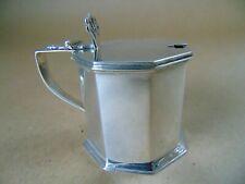More details for chester antique sterling silver octagonal mustard pot & blue glass liner 1922