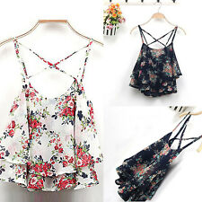 Sexy Women Summer Floral Print Spaghetti Strap Double Chiffon Shirt Vest Tide