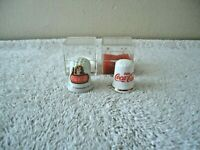 "Vintage Lot Of 2 Coca Cola Themed Thimbles In Plastic Cases "" BEAUTIFUL ITEMS """