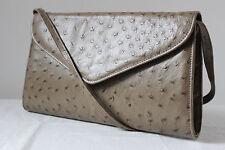 Vintage Bally imitation ostrich leather shoulder bag clutch handbag satchel