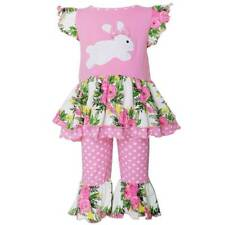 AnnLoren Baby Girls 2-3t Pink Easter Bunny Floral Tunic & Capri Holiday Outfit