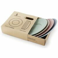 4pcs Wheat Straw Eco Biodegradable Unbreakable Saucers Plates Dinnerware Dishes