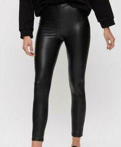 Dorothy Perkins Black PU Faux Leather Leggings Jeggings Stretch Vegan Trousers