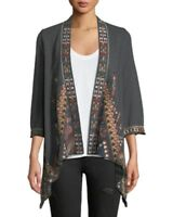 Johnny Was JWLA Embroidered Nala Knit Charcoal Grey  Draped Cardigan J43318 New