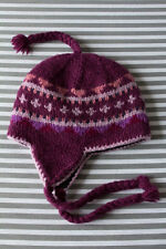 Womens Girls Chillouts Trapper Style Fairisle Nordic Knitted Hat_Purple Pink