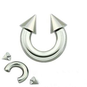 """Horseshoe Heavy 6 Gauge 1/2"""" w/Spikes 8mm Internal Thread Steel Body Jewelry"""