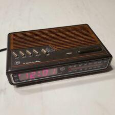 Vintage GE Model 7-4612A Digital Alarm Clock AM FM Radio Woodgrain Tested Works