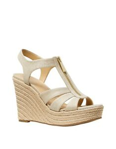 New Michael Kors Womens Wedge Sandal Size 7 8 9 Berkley Canvas Gold Espradrille