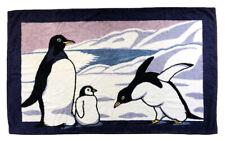 Authentic HERMES bath towels penguin print mat navy cotton 100%