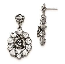 Ladies Silver Tone White Crystal Rose Post Dangle Earrings 1928 Boutique
