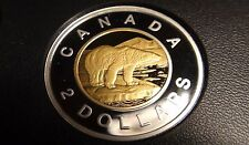 2015 Canada GOLD PLATED SILVER PROOF TWO DOLLAR Coin -  NICE & VERY RARE TOONIE!