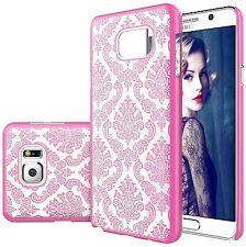 Galaxy Note 5 Transparent Vintage Damask Design Pink Hard Cover Shell Case