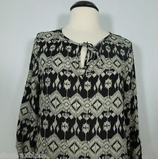 SABINE Piperlime's Tribal Print Blouse with Roll Tab Sleeves size L