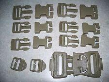 *US Military MOLLE Lot of 9-Piece Khaki Belt Equipment Buckle Bag Repair Set New