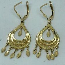 14K Y/G  2'' Drop Dangle Chandelier Earrings -Diamond Cut Accents 5.9 grams.