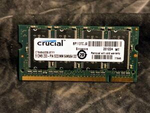 Crucial CT6464X335.8TFY 512MB PC2700 DDR-333MHz non-ECC Unbuffered CL2.5 SoDimm